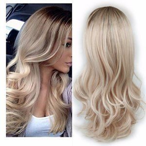 2 Tone Brn Roots to Ash Blonde Ombre Ladies Wig